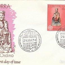 Sellos: ANDORRA EDIFIL 89/90, EUROPA 1974, VIRGEN DE ORDINO Y CRUZ DE 7 BRAZOS, PRIMER DIA 29-4-1974 ALFIL . Lote 194860195
