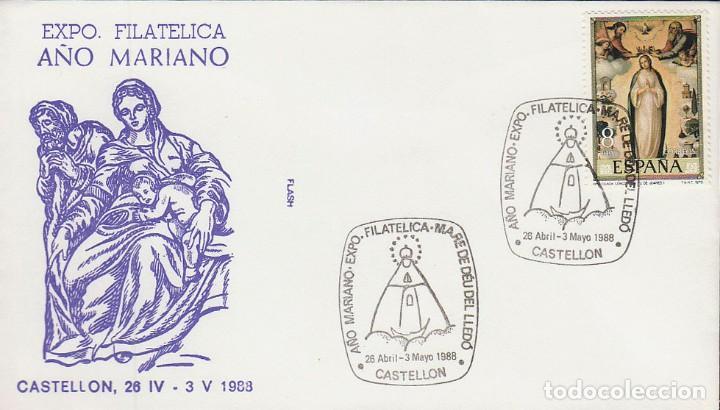 AÑO 1988, VIRGEN DE LLEDÓ, MATASELLOS DE CASTELLON, SOBRE DE FLASH (Sellos - Temáticas - Religión)