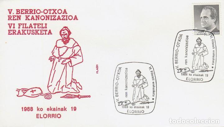 AÑO 1988, SAN VALENTÍN DE BERRIO-OTXOA, MATASELLO DE ELORRIO (VIZCAYA) (Sellos - Temáticas - Religión)