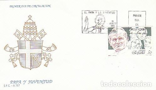 EDIFIL 3022, EL PAPA (JUAN PABLO II) Y LA JUVENTUD, PRIMER DIA DE 19-8-1989 SOBRE DEL SFC (Sellos - Temáticas - Religión)