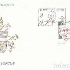 Sellos: EDIFIL 3022, EL PAPA (JUAN PABLO II) Y LA JUVENTUD, PRIMER DIA DE 19-8-1989 SOBRE DEL SFC. Lote 194860570
