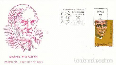 EDIFIL 3028, CENTENARIO DE LA FUNDACION DE LAS ESCUELAS DEL AVE MARIA PRIMER DIA DE 13-10-1989 ALFIL (Sellos - Temáticas - Religión)