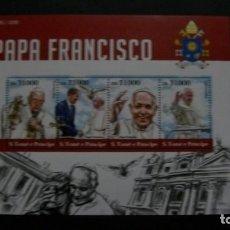 Sellos: CRISTIANISMO-S.S.PAPA FRANCISKO XVI-S.TOME&PRINCIPE-2015-MINIPLIEGO EN NUEVO SIN FIJASELLOS(**MNH). Lote 195525770