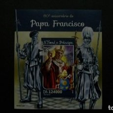 Sellos: CRISTIANISMO-S.S.PAPA FRANCISKO XVI-S.TOME&PRINCIPE-2016-BLOQUE EN NUEVO SIN FIJASELLOS(**MNH). Lote 195526095
