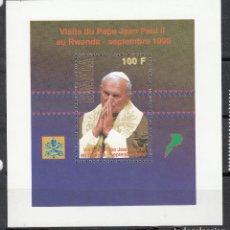 Selos: RUANDA 1990 - VISITA DEL PAPA JUAN PABLO II - YVERT HOJITA BLOQUE Nº 108**. Lote 197877597