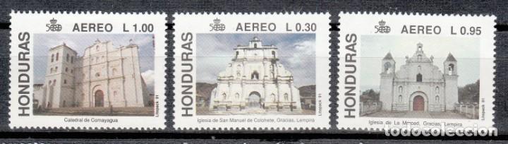 HONDURAS 1991 - IGLESIAS Y CATEDRALES - YVERT Nº 765A/765C** AEREOS (Sellos - Temáticas - Religión)