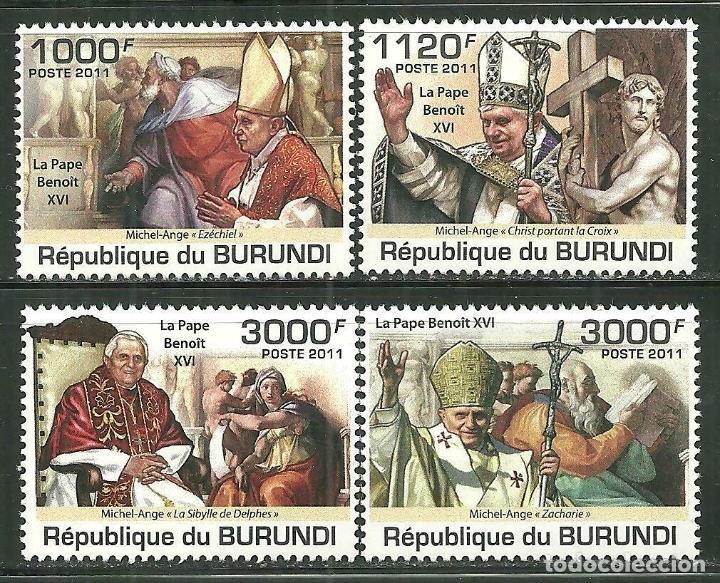 BURUNDI 2011 SCOT 936/39 *** RELIGIÓN - VISITA DEL PAPA BENEDICTO XVI (Sellos - Temáticas - Religión)