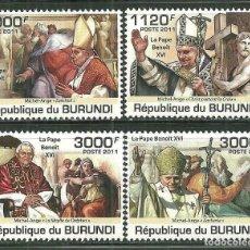 Sellos: BURUNDI 2011 SCOT 936/39 *** RELIGIÓN - VISITA DEL PAPA BENEDICTO XVI. Lote 200551206