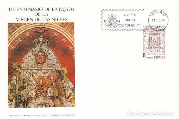 EDIFIL 2577, III CENTº BAJADA VIRGEN DE LAS NIEVES A SANTA CRUZ LA PALMA, PRIMER DIA 12-7-1980 FLASH (Sellos - Temáticas - Religión)