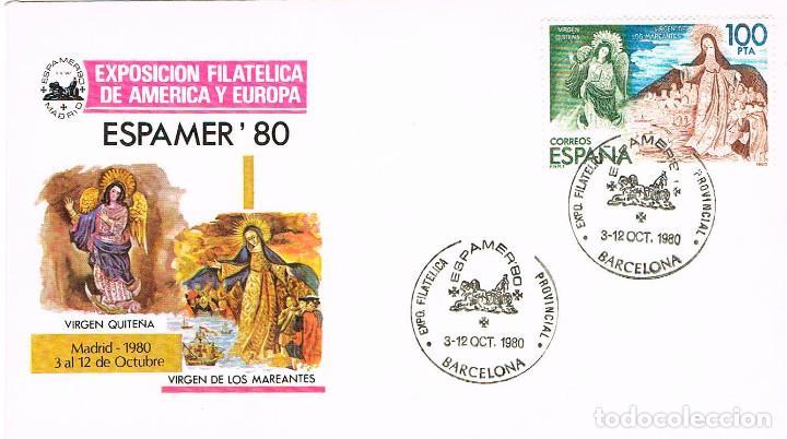 EDIFIL 2583 D, ESPAMER EN LLEIDA, VIRGENES DE LOS MAREANTES Y QUITEÑA PRIMER DIA DE 3-10-1980 (Sellos - Temáticas - Religión)
