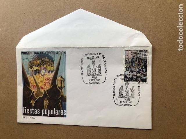 PRIMER DIA CIRCULACION SEMANA SANTA ZAMORA 1987 FIESTAS POPULARES (Sellos - Temáticas - Religión)