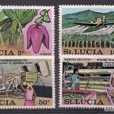 Sellos: SANTA LUCIA 1973 - INDUSTRIA DE LA BANANA - YVERT Nº 336/339**. Lote 211701444