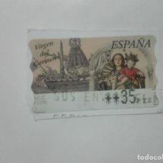 Sellos: SELLO VIRGEN DEL CARMEN ETIQUETA DE FRANQUEO ATM 35PTS CORREOS ESPAÑA. Lote 212655887