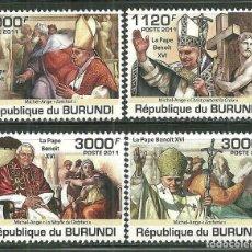Sellos: BURUNDI 2011 SCOT 936/39 *** RELIGIÓN - VISITA DEL PAPA BENEDICTO XVI. Lote 212955310