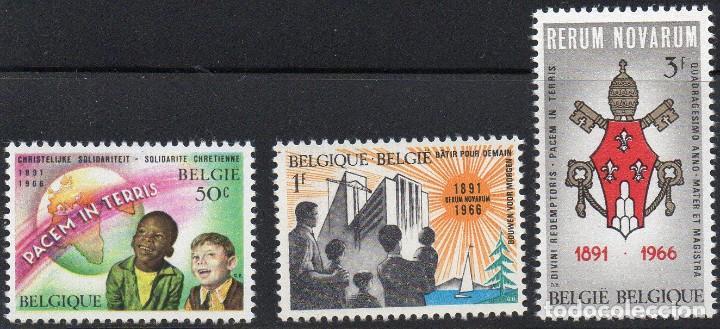 """BELGIUM/1966/MNH/SC#660-662/ 75º ANIVERSARIO DE LA ENCICLICA PAPAL POR LEO XII """"RETURN NOVARUM"""" (Sellos - Temáticas - Religión)"""