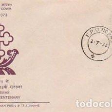 Sellos: INDIA Nº 570, 1.900 ANIVERSARIO DE LA MUERTE DE SANTO TOMÁS APOSTOL, SOBRE PRIMER DIA DEL AÑO 1973. Lote 219882201