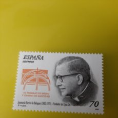 Sellos: RELIGIÓN BEATO JOSÉ MARÍA ESCRIVA BALAGUER EDIFIL 3721 NUEVA. Lote 221679330