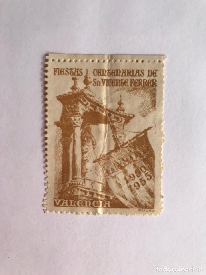SELLO, VIÑETA.., VALENCIA FIESTAS CENTENARIAS DE SAN VICENTE FERRER.. (1950-1955) (Sellos - Temáticas - Religión)