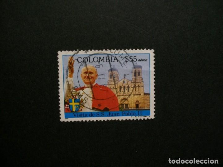 /24.10/-COLOMBIA-1986-CORREO AEREO 55 P. Y&T 751 EN USADO/º/-S.S.JUAN PABLO II (Sellos - Temáticas - Religión)