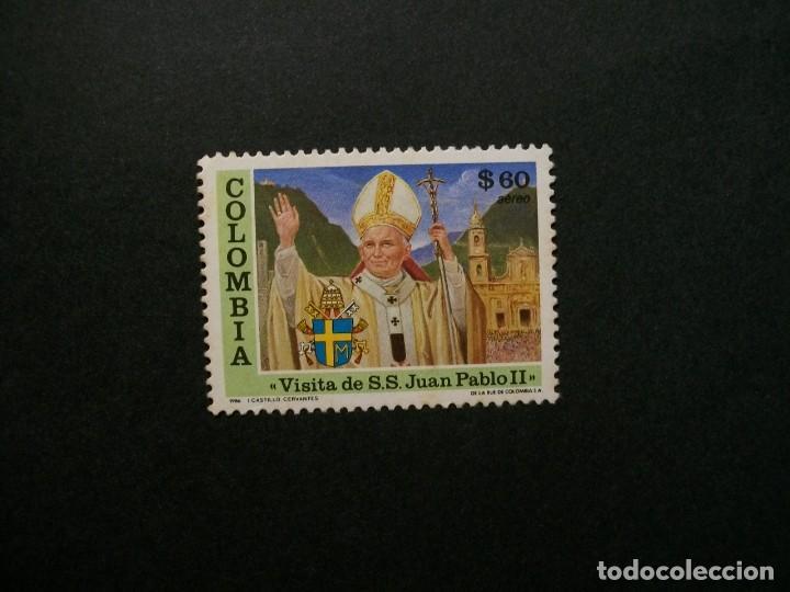 /24.10/-COLOMBIA-1986-CORREO AEREO 60 P. Y&T 752 EN USADO/º/-S.S.JUAN PABLO II (Sellos - Temáticas - Religión)