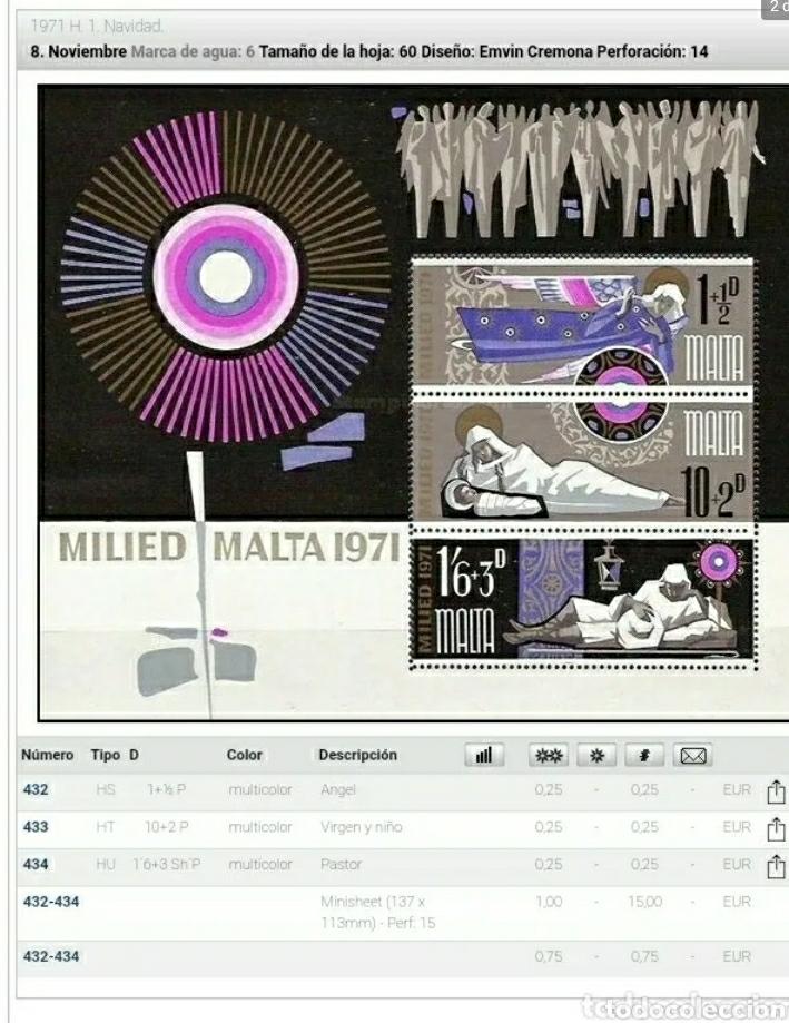 Sellos: HB Malta nuevos/1971/navidad/escenas/religion/nacimiento/iglesia/constumbres/anges/niño/flor/flo - Foto 2 - 234942410