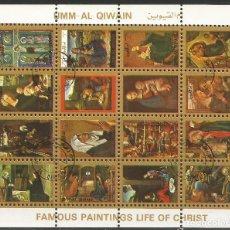 Sellos: UMM AL QIWAIN - 1973 - BLOQUE 02 DE 16 SELLOS DE FAMOSAS DE PINTURAS VIDA DE CRISTO - SELLADO. Lote 236422465