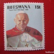Sellos: *BOTSWANA, 1988, VISITA DELPAPA JUAN PABLO II, YVERT 588. Lote 236516970