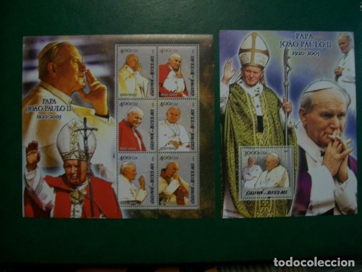 GUINEA BISSAU-2005-HOJITA+BLOQUE EN NUEVO SIN FIJASELLOS(**MNH)-S.S.JUAN PABLO II (Sellos - Temáticas - Religión)
