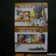 Sellos: GUINEA-2015-HOJITA+BLOQUE EN NUEVO(**MNH)-S.S.BENEDICTO XVI. Lote 237213160