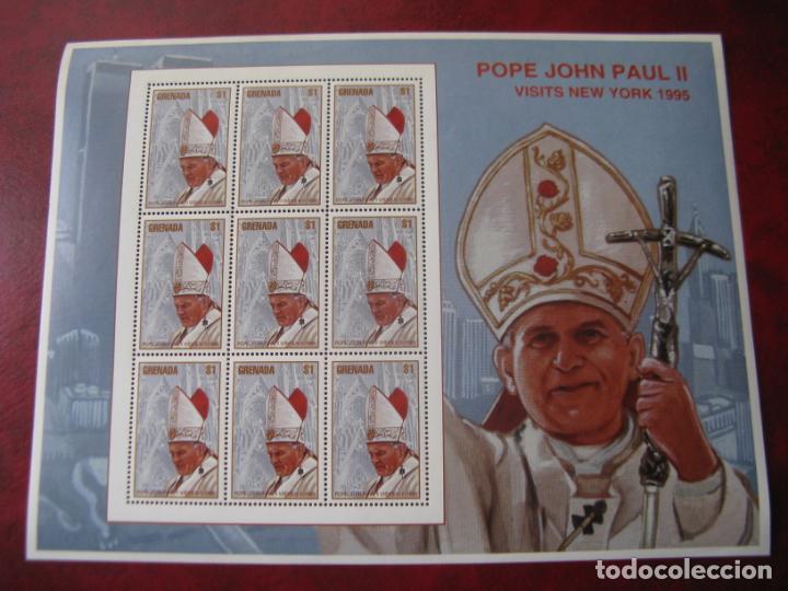 *GRENADA, MINIPLIEGOS VISITA DE JUAN PABLO II A NUEVA YORK (Sellos - Temáticas - Religión)