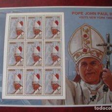Sellos: *GRENADA, MINIPLIEGOS VISITA DE JUAN PABLO II A NUEVA YORK. Lote 241972210