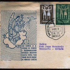 Sellos: GIROEXLIBRIS.- ARGENTINA PRECIOSA TARJETA DE SAN GABRIEL PATRONO DE CORREOS Y TELECOMUNICACIONES. Lote 253627515