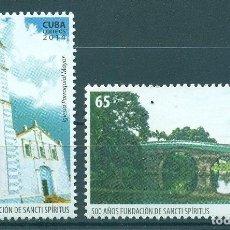 Sellos: ⚡ DISCOUNT CUBA 2014 THE 500TH ANNIVERSARY OF THE SANCTI SPIRITUS MNH - ARCHITECTURE, CHURCH. Lote 253844320