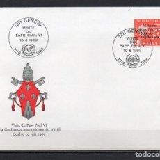 Sellos: FDC, SOBRE DE PRIMER DÍA DE EMISIÓN DE SUIZA -VISITA DEL PAPA PABLO VI A SUIZA-, AÑO 1969. Lote 255394535