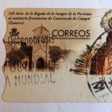 Sellos: ATM 350 ANIVERSARIO LLEGADA IMAGEN PURÍSIMA SANTUARIO CASTROVERDE ZAMORA 2000. Lote 277284673