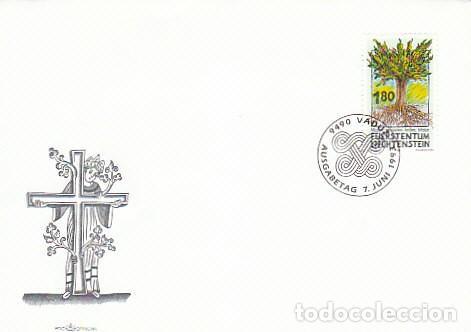 LIECHTENSTEIN IVERT 1005, HOMENAJE A LAS MISIONES, EL ÁRBOL DE LA VIDA, PRIMER DIA DE 7-6-1993 (Sellos - Temáticas - Religión)