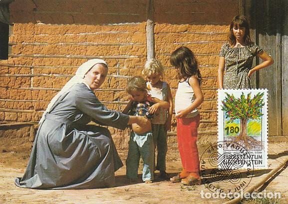 LIECHTENSTEIN IVERT 1005, HOMENAJE A LAS MISIONES, EL ÁRBOL DE LA VIDA, TARJETA MAXIMA DE 7-6-1993 (Sellos - Temáticas - Religión)