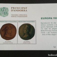 Sellos: HOJA DE BLOQUE SELLOS ANDORRA 1980 MEDALLAS EPISCOPAL CON GOMA. Lote 283494753