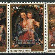 Sellos: COOK 1986 IVERT 870/2 *** VISITA DE S.S. EL PAPA JUAN PABLO II AL PACIFICO SUR - PINTURA - RUBENS. Lote 285987278