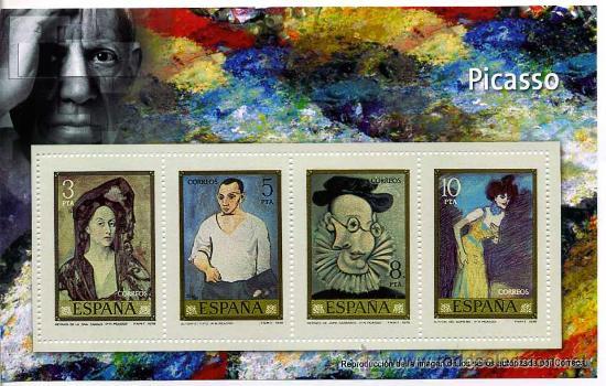 REPRODUCCION AUTORIZADAS POR CORREOS DE LOS 4 SELLOS DE PICASSO (Philatelie - Briefmarken - Replikate)