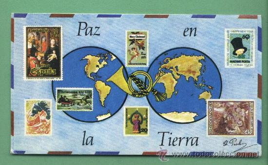 FELICITACIÓN NAVIDAD. PAZ EN LA TIERRA. REPRODUCCIÓN DE SELLOS.ARTIS MUTI.1982 (Filatelia - Sellos - Reproducciones)