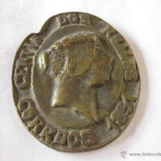 Sellos: PLACA DE BRONCE CON LA EFIGIE DE ISABEL II. CERTIF. DOS REALES. CORREOS 1851. ISA. Lote 39739723