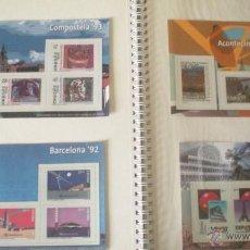 Sellos: 4 REPRODUCCIONES SELLOS COMP0STELA 93 , BARCELONA 92 , ACONTECIMIENTOS Y EXPOSICIONES UNIVERSALES. Lote 45241874