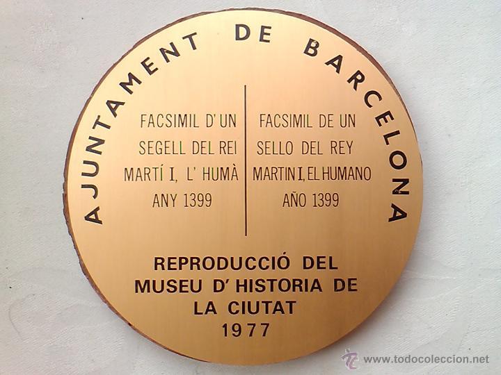 Sellos: SELLO REY MARTIN I EL HUMANO 1399 REPRODUCCION MUSEO HISTORIA DE BARCELONA 1977 ESTUCO 13 X 0,7 CM - Foto 5 - 53692921