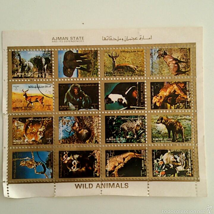 LAMINA 16 SELLOS SIN PEGAR - COLECCION WILD ANIMALS (Filatelia - Sellos - Reproducciones)