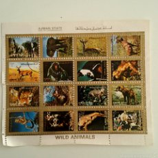 Sellos: LAMINA 16 SELLOS SIN PEGAR - COLECCION WILD ANIMALS. Lote 58624516