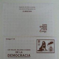 Sellos: LOS SELLOS, BILLETES E ICONOS DE LA DEMOCRACIA. SOBRE 33. Lote 64343183