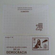 Sellos: LOS SELLOS, BILLETES E ICONOS DE LA DEMOCRACIA. SOBRE 38. Lote 64343491