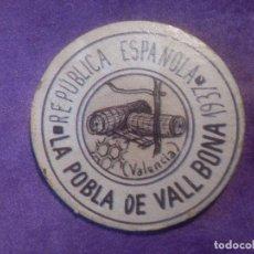 Sellos: CARTÓN MONEDA DE USO PROVISIONAL - LA POBLA DE VALL BONA - VALENCIA 1937 - 5 CTS REPUBLICA ESPAÑOLA. Lote 67410673