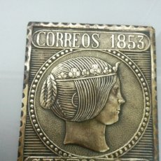Sellos: ANTIGUA PLACA LATON SELLO 6 REALES 1853 ISABEL II 166GR 11X9CM. Lote 72320826
